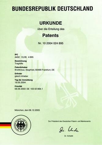 Patent, bestätigt in Deutschland