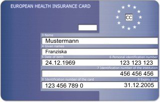 Europäische Krankenversicherungskarte/ EHIC, Vorderseite