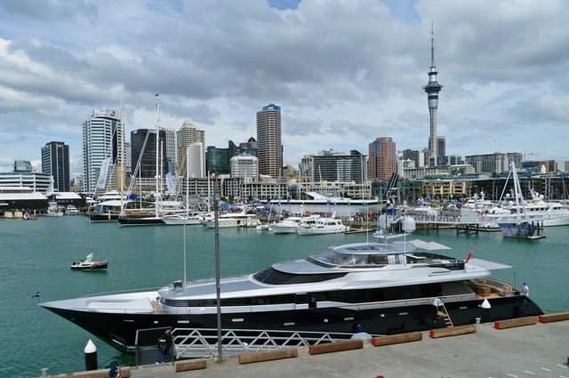 Hafen von Auckland, Blick auf die Stadt