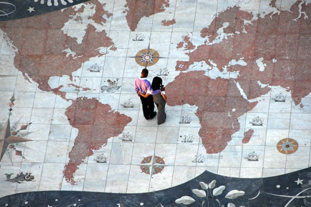 Weltkarte, Bodenmosaik