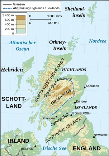 Schottland, topografische Karte