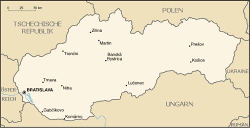 Karte der Slowakei