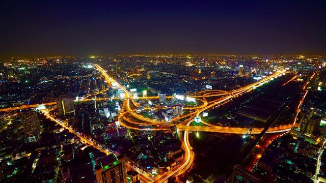 Bangkok, die Hauptstadt im nächtlichen Panorama