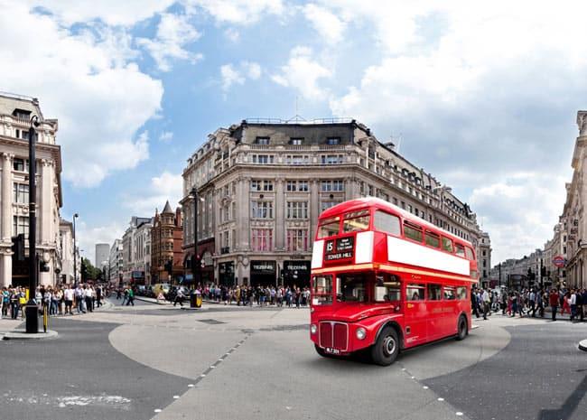 Londons rote Busse - Symbol für Großbritannien