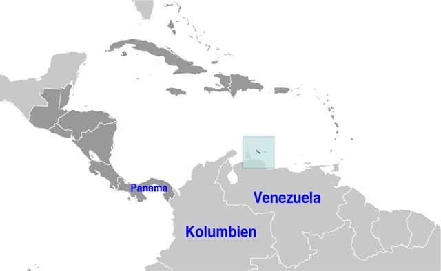 Lage von Curacao auf der Weltkarte