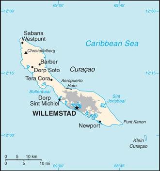 Karte von Curacao